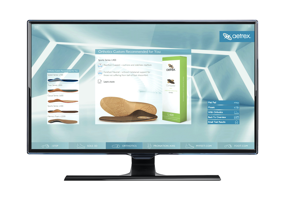 Albert 3D foot scanner makes recommendations for Aetrex orthotics