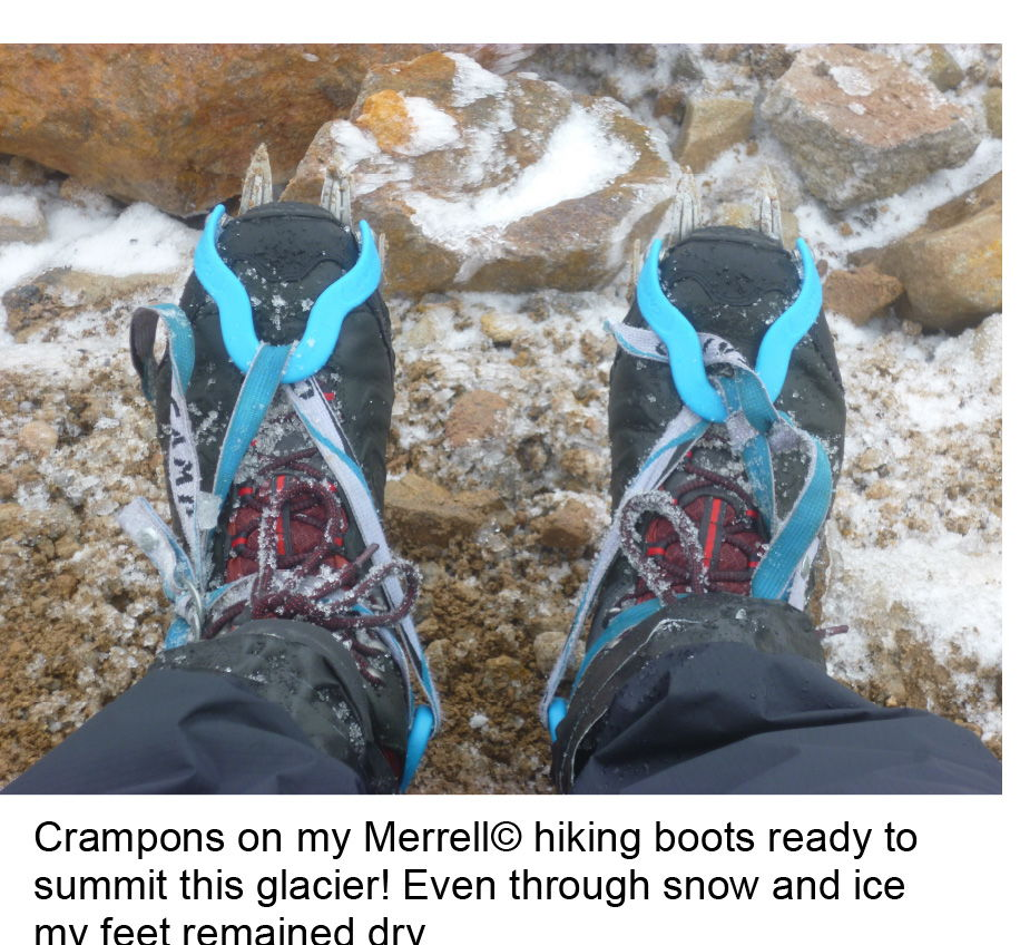 Merrell Moabs and Crampons kept footing secure up to the summit