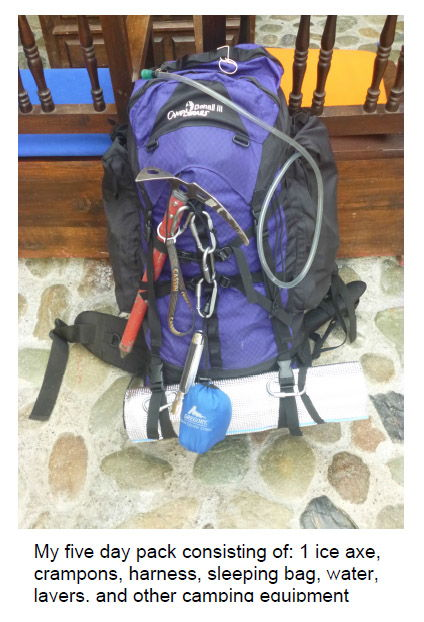 Backpack ready to go on a 5 day hike up Finca Primavera