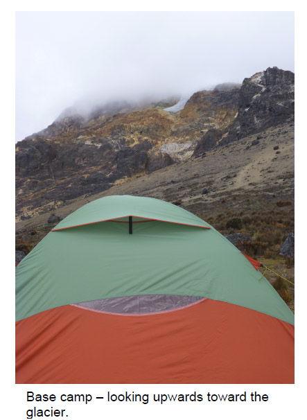 Base camp set-up at the base of Tolima Mountain