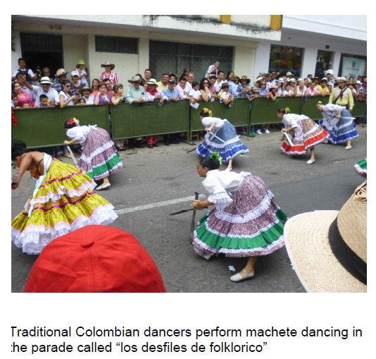 Traditional Colombian dancers doing a Machete Dance