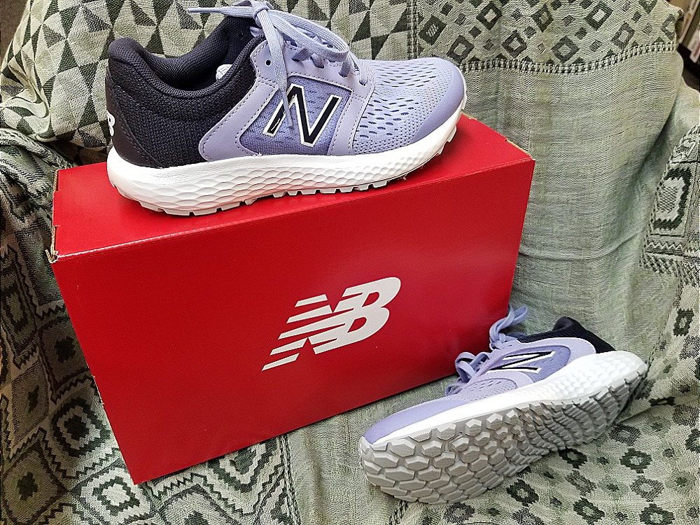 New Balance running shoes in a fashion forward pale lilac